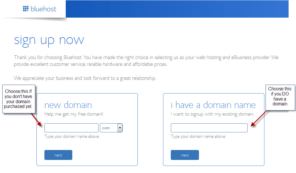 Sign up for Bluehost Step 3
